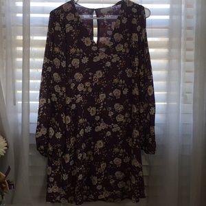 Purple floral open sleeve dress